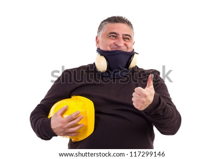 Satisfied construction worker with thumbs up.Studio shot, white background