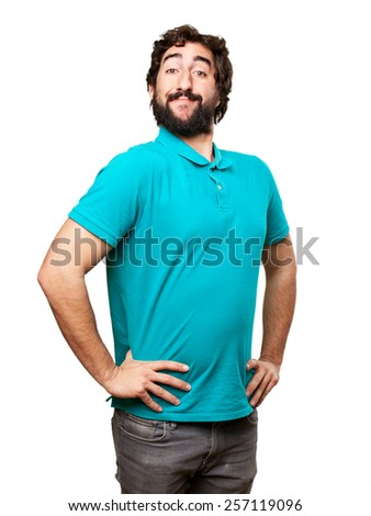 satisfied cool man - stock photo