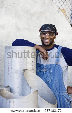 Satisfied Factory Worker - stock photo