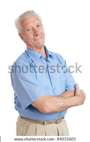 Satisfied happy senior man looking at camera isolated on white background - stock photo