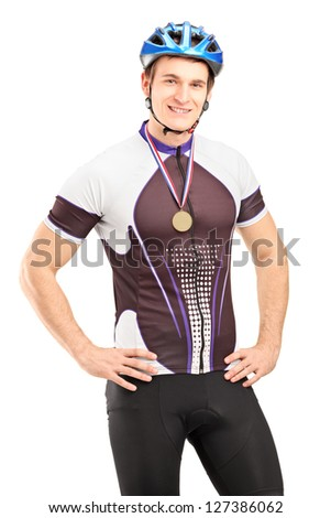 Satisfied male cyclist winner posing with a golden medal isolated on white background - stock photo