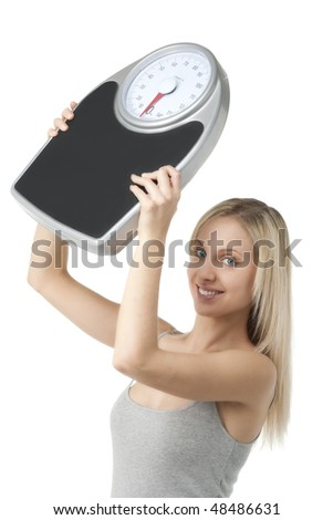 Satisfied woman raising her scale
