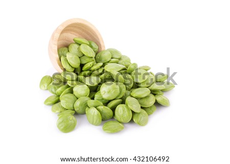 Sato seeds, Parkia speciosa seeds or bitter bean on white background
