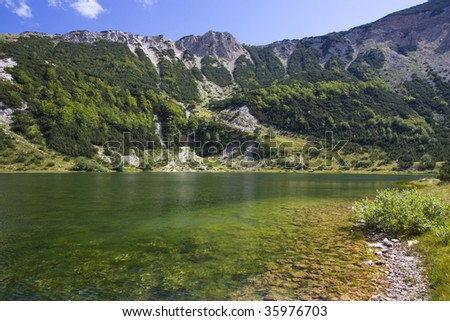 Satorsko lake - in the western regions of Bosnia and Herzegovina at 1488 meters a.s.l. below sator mountain - stock photo
