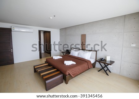 SATTAHIP CHONBURI - MARCH,16 : The luxury classic bed room that interior the resort room.THAILAND MARCH,16 2016 - stock photo