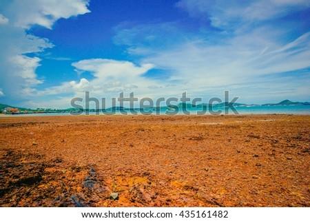 Sattahip, Thailand at sea taken from the sea. - stock photo