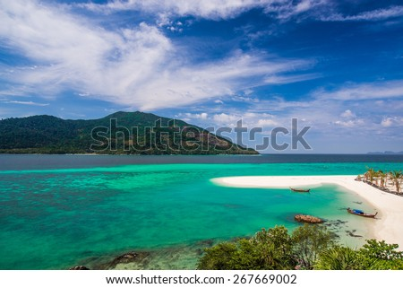 SATUN, THAILAND - MARCH 27, 2015 : Beautiful beach and attractive scene of Lipe Island on MARCH 27, 2015. Lipe Island is a famous Island of Andaman sea in Satun province, the southern of Thailand.