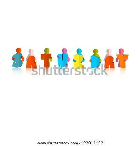 Saturday Colorful Title - Paper Cut People and Letters on White Background