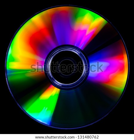 Satured colors for this CD photography on black background - stock photo