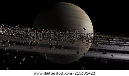 Saturn, isolated on black - stock photo