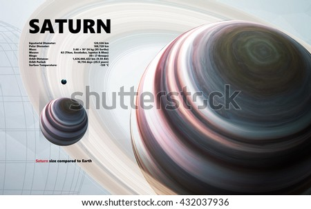 Saturn. Minimalistic style set of planets in the solar system. Elements of this image furnished by NASA - stock photo