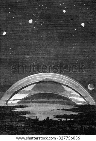 Saturn, vintage engraved illustration. Magasin Pittoresque 1877. - stock photo