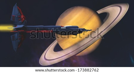 Saturn Visit - A spaceship from Earth comes to visit the planet of Saturn. - stock photo
