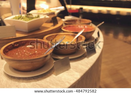 sauce bowl in restaurant de focused abstract background