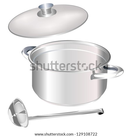 Saucepan and big spoon on a white background