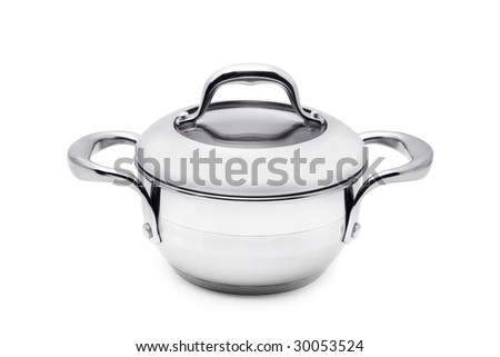 Saucepan isolated over white background - stock photo