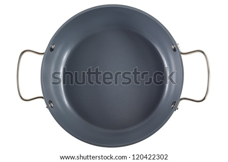 saucepan isolated, top view - stock photo