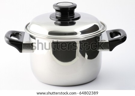 Saucepan (made of stainless stee) with stand cover, on white background.Isolated - stock photo