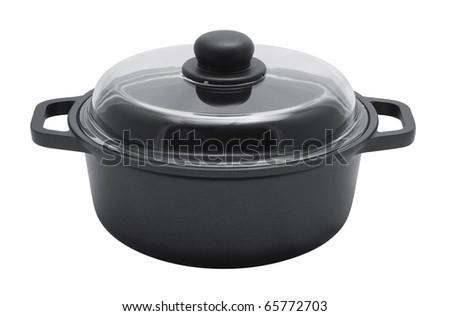 saucepan on a white background - stock photo