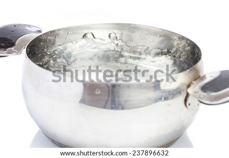 saucepan with water boiliing on white background - stock photo