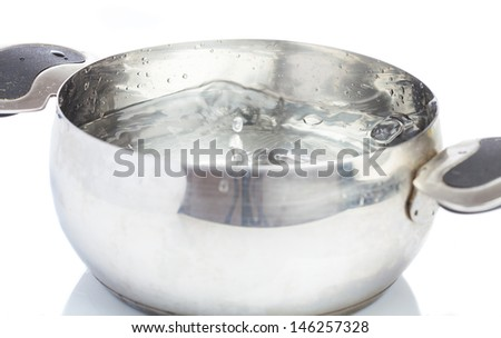saucepan with water boiling on white background