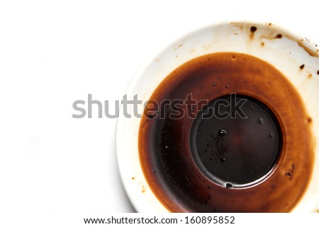 saucer with a dried coffee on a white background