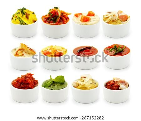 Sauces Italian pasta isolated on white background - stock photo