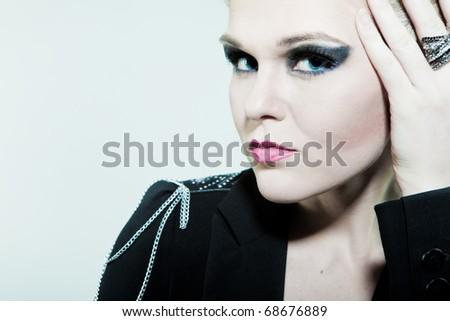 Saucy look fashion women large portrait - stock photo
