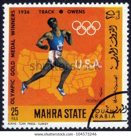 SAUDI ARABIA- CIRCA 1968: stamp printed in Mahra State of South Arabia show  image  of american sportsman Owens, winner of  race on the track  Olympic Games  Berlin, Germany, 1936, series, circa 1968 - stock photo