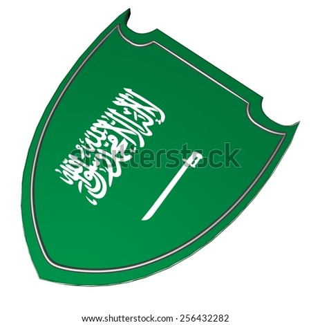 Saudi Arabia flag over shield, isolated over white, 3d render - stock photo