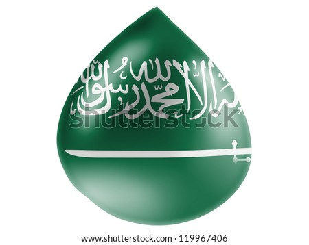Saudi Arabia flag painted on 3D water drop - stock photo