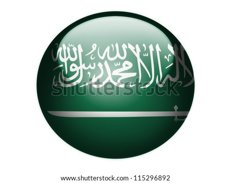 Saudi Arabia flag painted on glossy round sphere or icon - stock photo