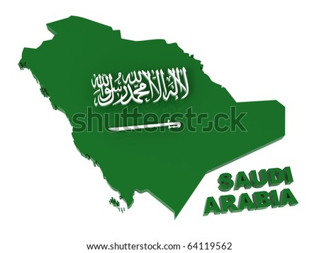 Saudi Arabia, map with flag, clipping path included, 3d illustration, isolated on white