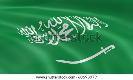 Saudi Arabian flag in the wind. Part of a series. - stock photo