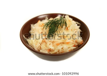 Sauerkraut isolated on white background - stock photo
