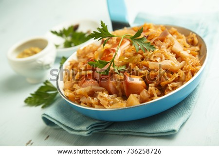 Sauerkraut stew with sausage