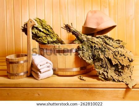 sauna accessories in wooden sauna - stock photo