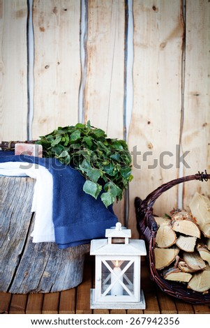 Sauna Accessories: towel, soap and vihta - stock photo