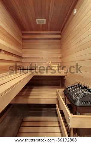Sauna in luxury home - stock photo