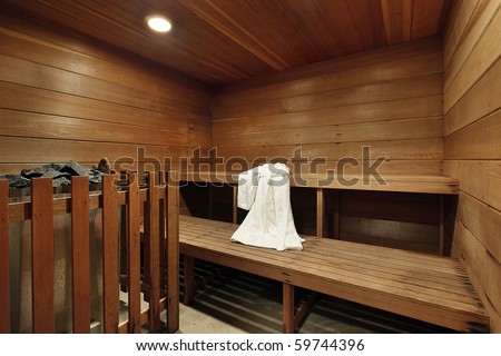 Sauna in luxury home with two wooden decks - stock photo