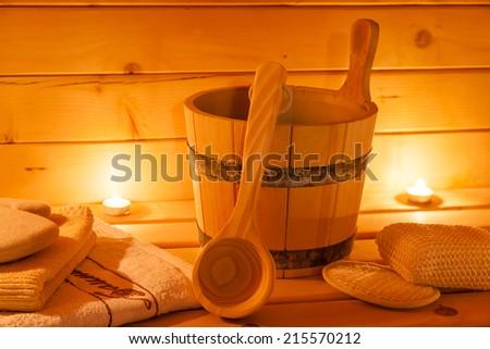 sauna interior and sauna accessories - stock photo