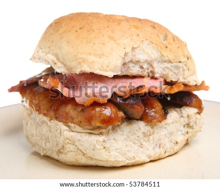 Sausage and bacon roll - stock photo