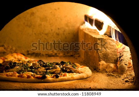 Sausage and Mushroom Pizza - stock photo