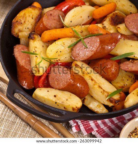 Sausage Dinner. Selective focus. - stock photo