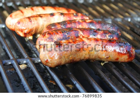 Sausage on the grill - stock photo