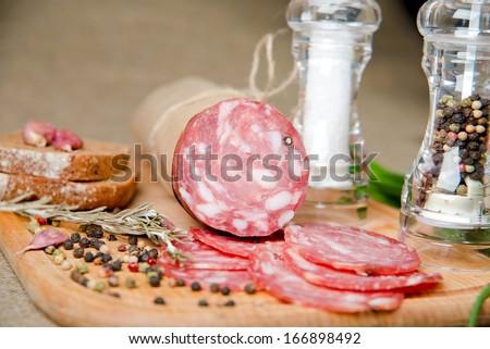 sausage, salami. - stock photo