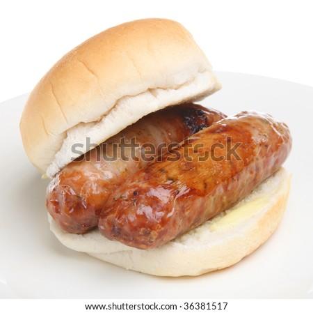 Sausage sandwich - stock photo