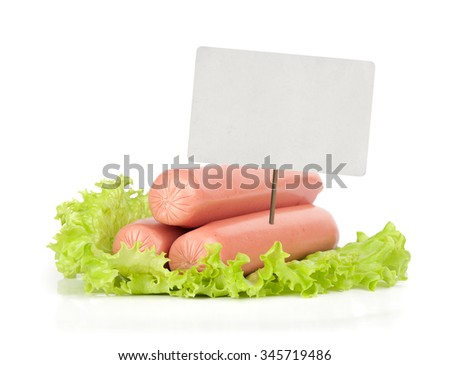 Sausage with price tag isolated on white - stock photo