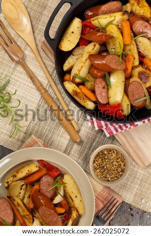 Sausages and Potato Dinner. Selective focus. - stock photo