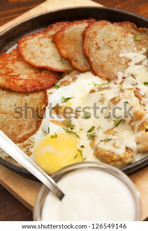 Sausages, Eggs and Potato Pancakes